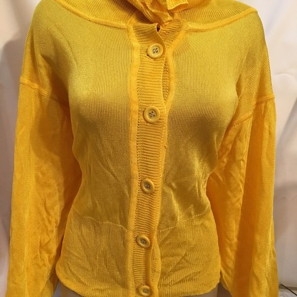 Adrienne Vittadini Yellow Knit 3/4 Sleeve Button Cardigan Sweater M NWT