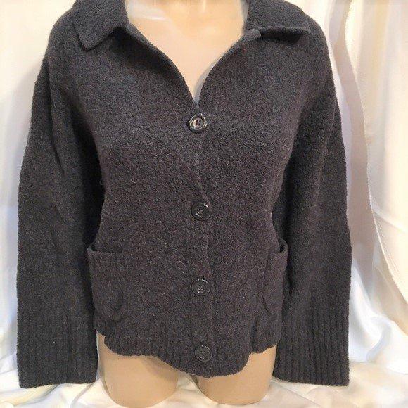 Banana Republic Dark Gray Button Front Knit Jacket M