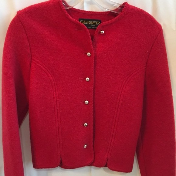 Geiger Red Wool Vintage Long Sleeve Crop Jacket 38 4