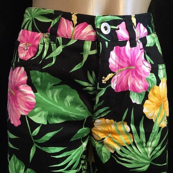 Ralph Lauren Petite Black Hibiscus Floral Print Capri Pants 4