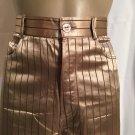 Vivien Caron Tan & Brown Striped Satin Pants 4