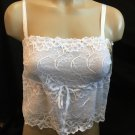 Felina White Lace Desirables Cropped Camisole Top 7698 S  NWT