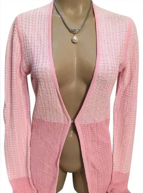 Adrienne Vittadini Pink & White Knit Cardigan Sweater S