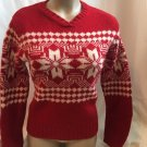 Ann Taylor Red & White Snowflake Print Wool Sweater S