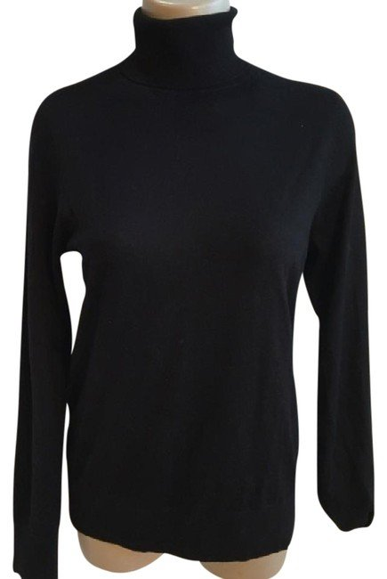 Ann Taylor Black Wool Blend Turtleneck Sweater M