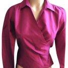 Ann Taylor Fuchsia Pink Long Sleeve Wrap Silk Top 2
