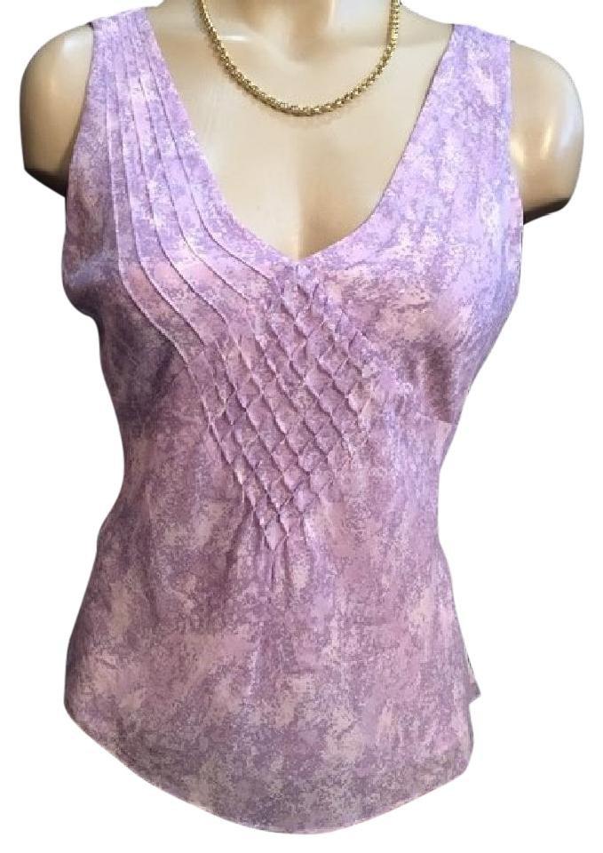 Ann Taylor Lavender & Gray Silk Sleeveless Top S