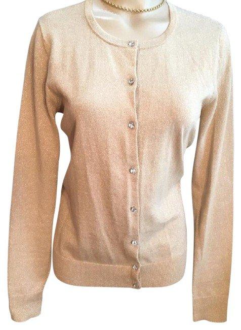 Ann Taylor Gold Lame' Cardigan Sweater M