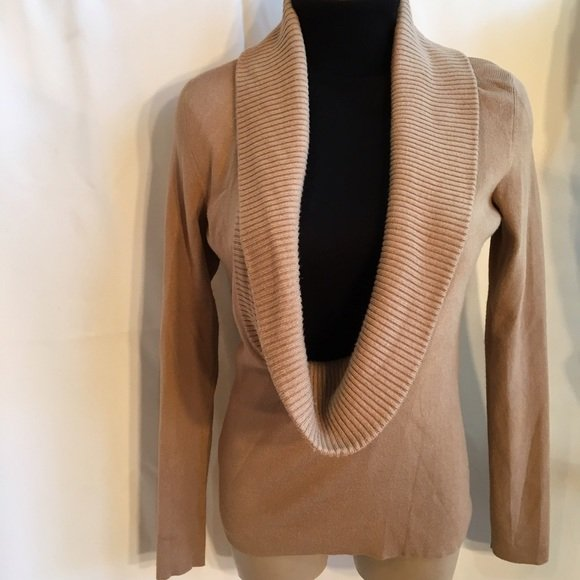 Ann Taylor Loft Tan Ribbed Drape Neck Sweater XS
