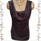 Ann Taylor DArk Taupe Drape Neck Top SP S NEW