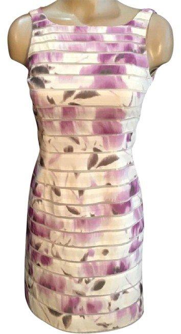Ann Taylor White & Lavender Print Dress 00P 0