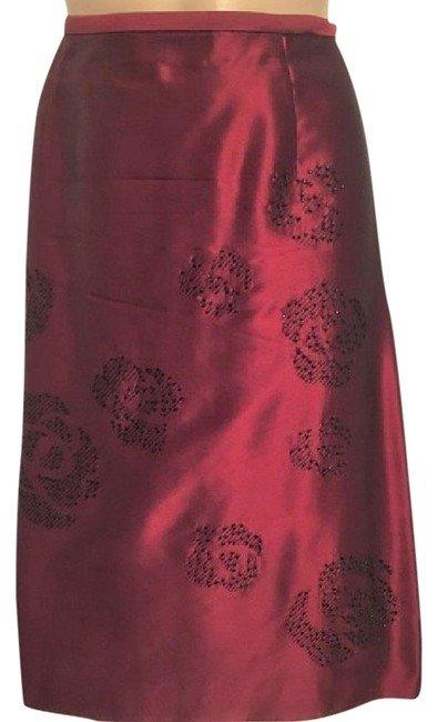 Ann Taylor Red Sequin Silk Skirt 6 6P