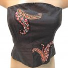 Ann Taylor Black Silk Strapless Sequin Top 4 4P NWT