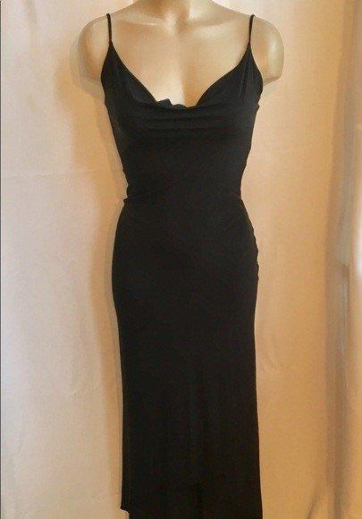 Bebe Black Sleeveless Long Asymmetrical Hem Dress M NWT