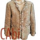 CAbi Tan & White Woven Blazer M