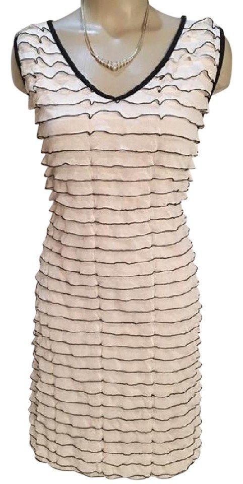 Carole Little Ivory & Black Ruffle Dress L
