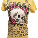 Ed Hardy Yellow Skull Tee Shirt M NWT