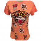 Ed Hardy Orange Monogram Tiger Tee Shirt L NWT