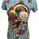 Ed Hardy Blue Dragon Skull Tee Shirt M NWT