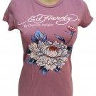 Ed Hardy Lavender Mum Flower Tee Shirt M NWT