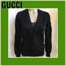 Gucci Black Wool Cardigan Sweater XL
