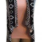 Haute Monix Black & White Open Drape Sweater L