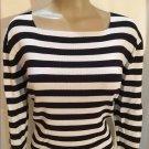 Jones New York Black & White Striped Top L
