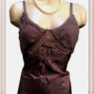 Kaelyn Max Brown Embellished Sleeveless Silk Tank Top M NWT