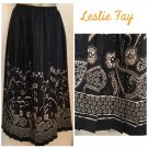 Leslie Fay Black & Taupe Pleated Floral Print Calf Length Skirt 8 NWOT