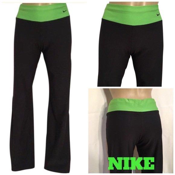 Nike Black & Green Athletic Pants S