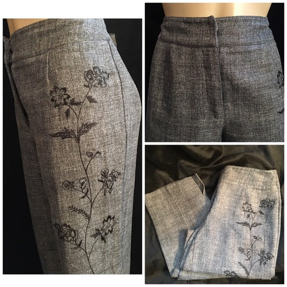 Norton McNaughton Gray Embroidered Hip Pants 6