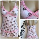 Baby Phat White & Pink Floral Print Sleep Dress & Thong Set S NWT