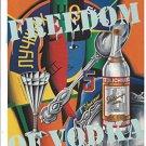 Magazine Paper Print Ad For Stolichnaya Vodka: Freedom Shakirov Illustrated