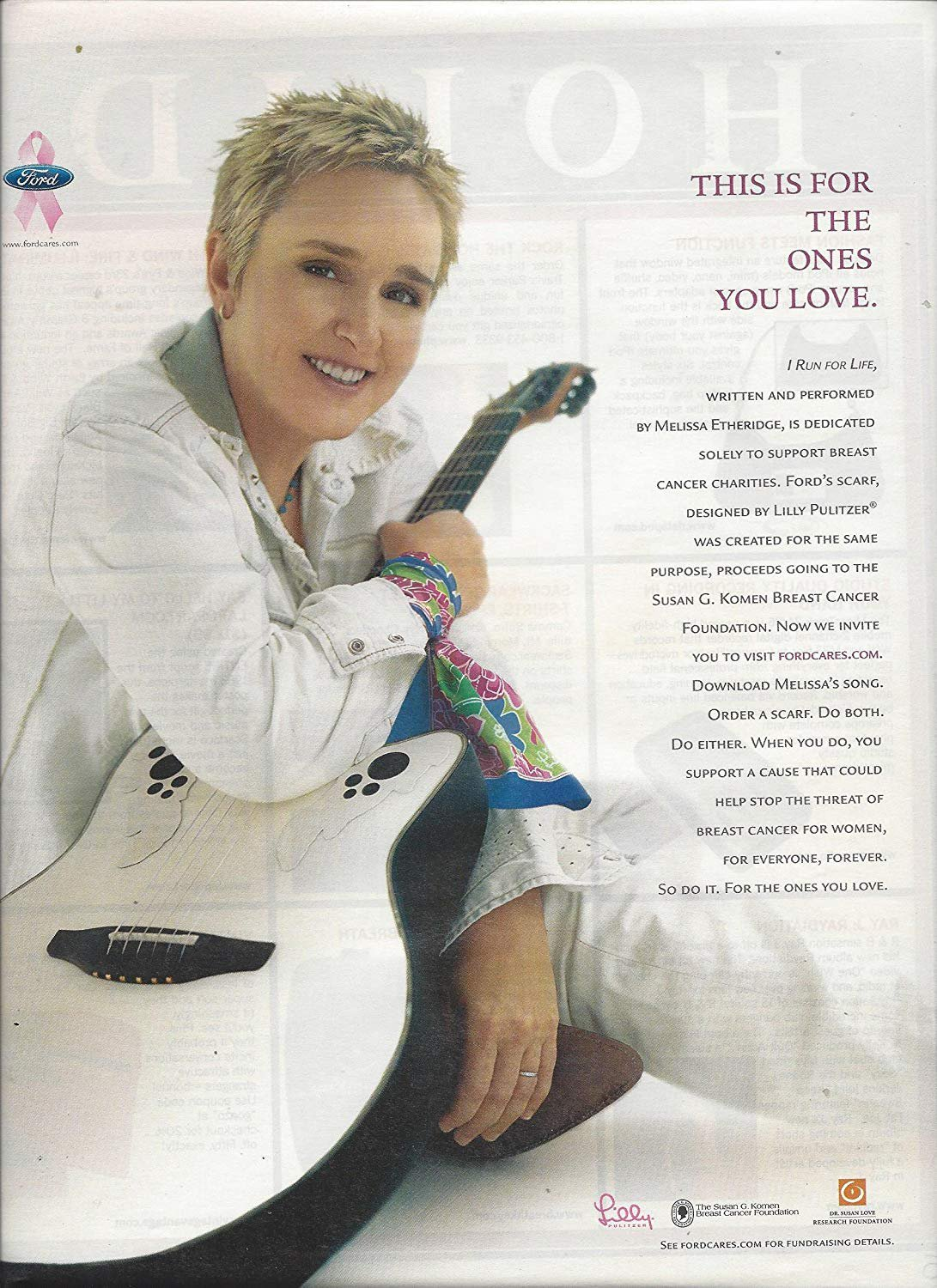 Magazine Paper Print Ad With Melissa Etheridge For Ford Breast Cancer Foundation
