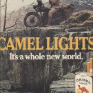 Magazine Paper Print Ad For Camel Cigarettes: Man On Motorcycle Scene