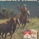 Magazine Paper Print Ad For Marlboro Cigarettes: Cowboy Roping Horses Scene