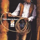 Magazine Paper Print Ad For Marlboro Cigarettes: Cowboy With Rope In Door