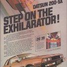 Magazine Paper Print Ad For Datsun 200 SX Cars