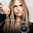 Magazine Paper Print Ad With Cara Delevingne For Tag Heuer Watches
