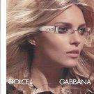 Magazine Paper Print Ad With Julia Stegner For Dolce & Gabbana Logo Sunglasses