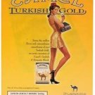 Magazine Paper Print Ad For Camel Turkish Gold Cigarettes: Illustrated Pinup Girl