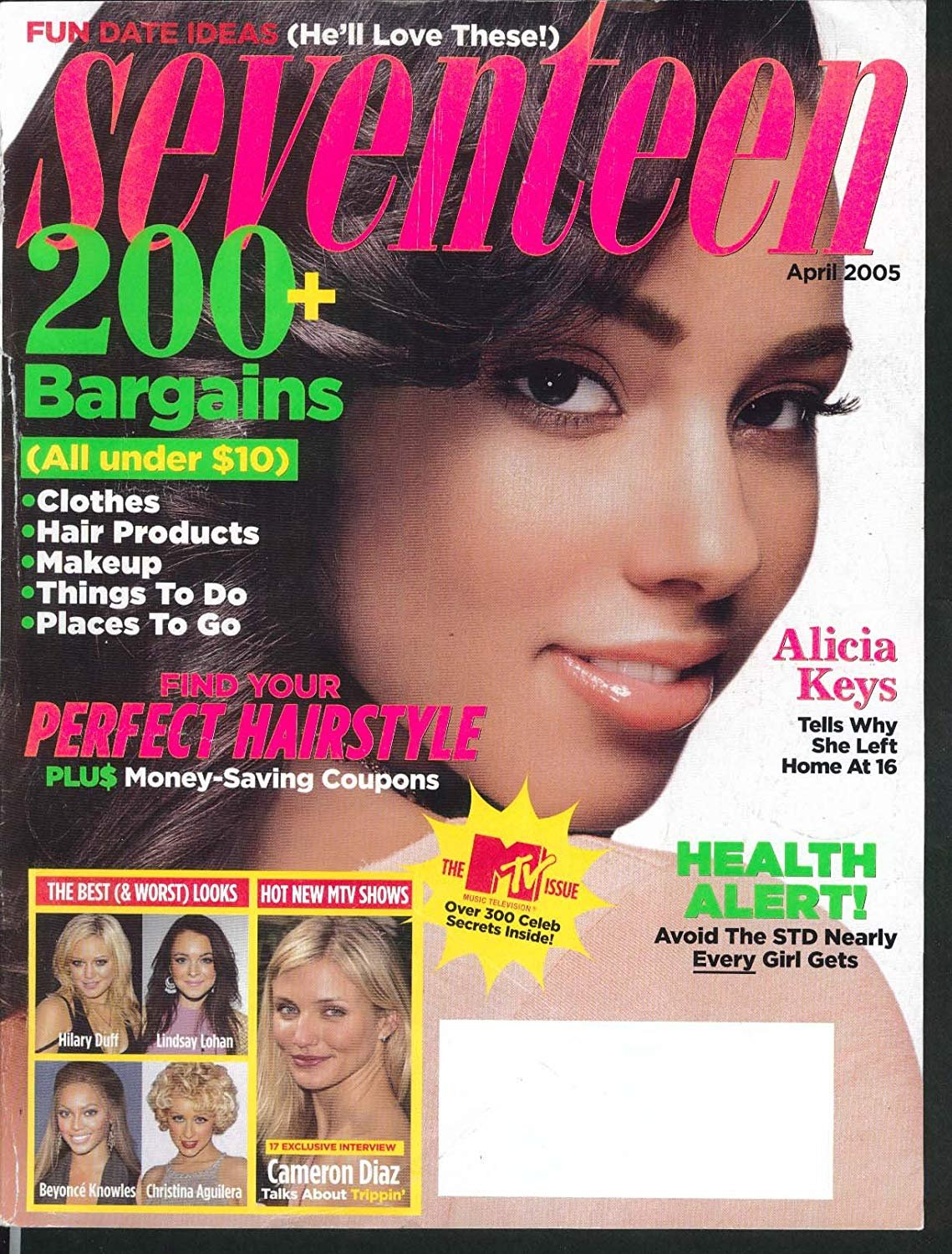 Seventeen Magazine April 2005 Alicia Keys Cover