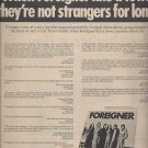 Magazine Paper Print Ad With Foreigner Debut Album Promo
