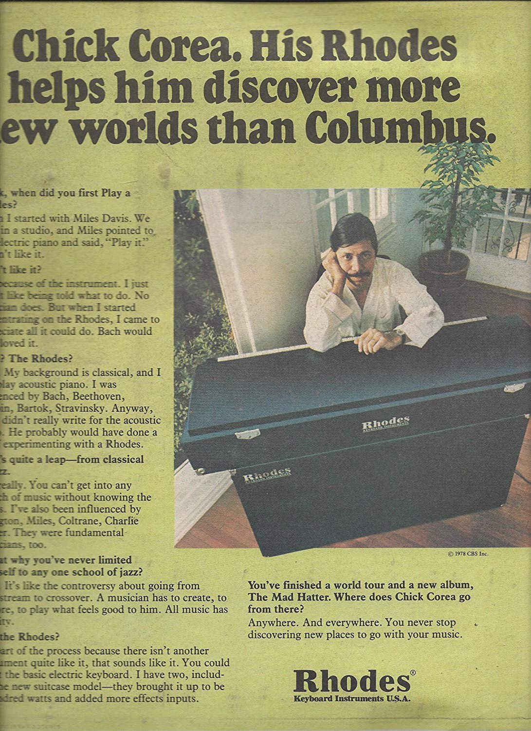 Magazine Paper Print Ad With Chick Corea For Rhodes Keyboards