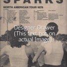 Magazine Paper Print Ad For Sparks Indiscreet 1975 Album & Concert Promo