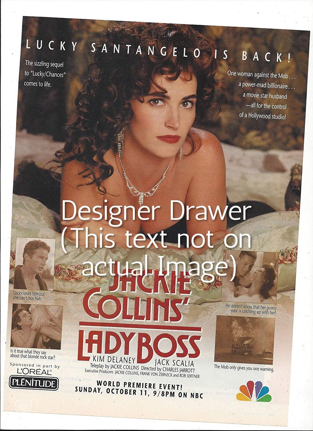 Magazine Paper Print Ad For Jackie Collins' Lady Boss Movie Promo