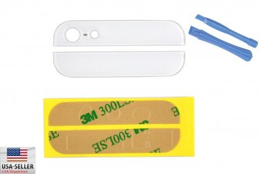 Back Rear Cover Case Up Down Glass for iPhone 5 5G White Adhesive Pry Tools