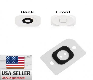 White Home Button Key Cap + Rubber Gasket Assembly Replacement For iPhone 5 5G