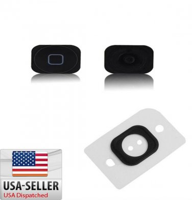 Black Home Button Key Cap + Rubber Gasket Assembly Replacement For iPhone 5 5G