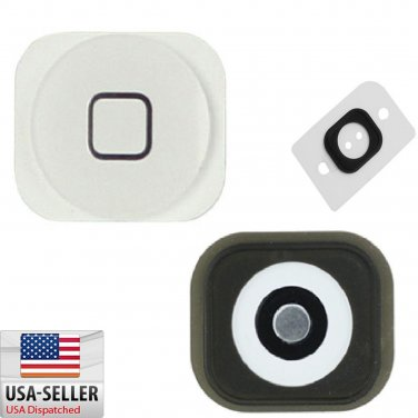 White Home Button w/ Rubber Gasket Sticker + Metal Sticker for iPhone 5C
